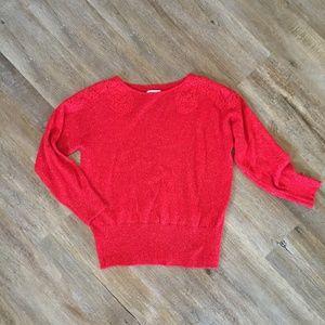 Elle Red Holiday Sweater with Embellished Shoulder